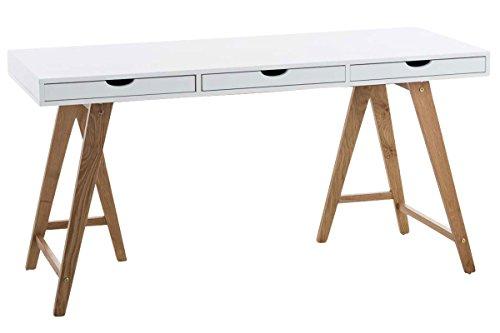 CLP Holz-Schreibtisch Belize mit Robustem Eichenholzgestell | Bürotisch mit 3 Schubladen und Großer Arbeitsfläche Natura