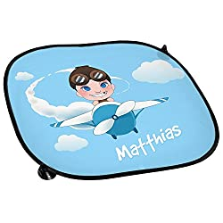Auto-Sonnenschutz mit Namen Matthias und schönem Motiv mit Pilot und Flugzeug für Jungen | Auto-Blendschutz | Sonnenblende | Sichtschutz