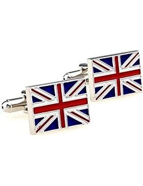 RXBC2011 Herren British Flag Style Französisch Shirts Manschettenknöpfe 1 Paar Set