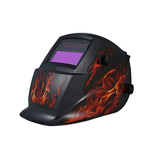 KKmoon Solar Automatik Schweißhelm Schweißmaske Schweißschirm Schweißschild mit Kopfband Automatische Verdunkelung ArgonTIG MIG Welding Helmet Flamme Skelett -