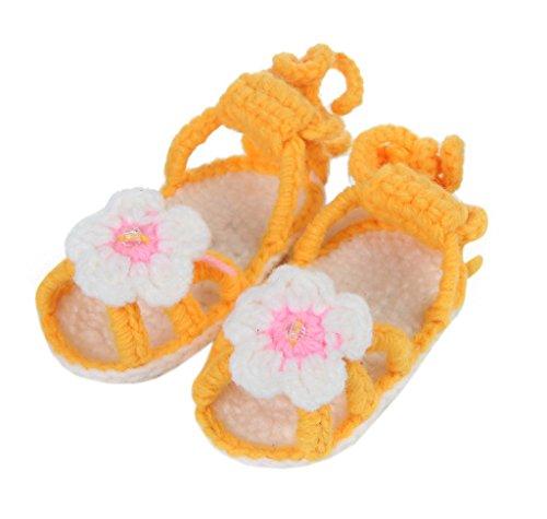 Bigood 1 Paar Strickschuh One Size Strick Schuh Baby Unisex süße Muster 11cm Blume Orange Orange