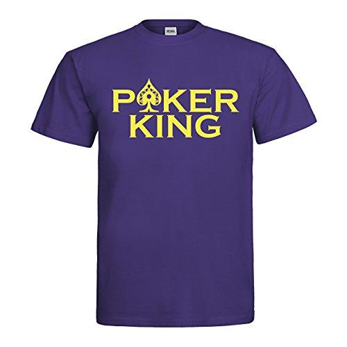 MDMA T-Shirt Poker King N14-mdma-t00677-245 Textil indigo / Motiv neongelb Gr. XXL