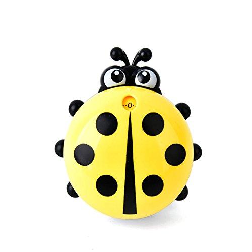 Cute Ladybug Machinery sabliers 60minutes cuisson minuterie de cuisine mécanique Alarme puissante les comptoirs manuel Minuteur ustensile de cuisine jaune