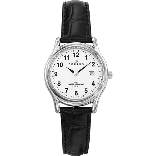 Certus 644385-Women's Watch Analogue Quartz White Dial Black Leather Strap
