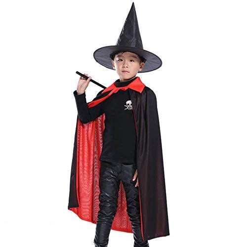 Vampir Kostüm Cape Kind - Fewao Kinder Halloween Hexe Umhang schwarz rot Umhang doppelseitig Vampir Umhang 82 cm Teufel Hexe Kostüm für Cosplay Cape Hut Set