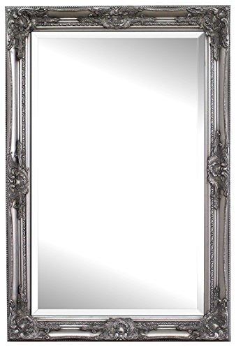 Silberner Shabby Chic Spiegel – Massivholz – Handgefertigt – Barock - Groß – 90x60 cm - Antik Silber