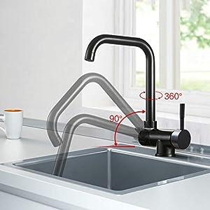 Ventana interior cocina giratoria plegable agua fría caliente grifo negro ventana baja mezclador de cocina grifo una…