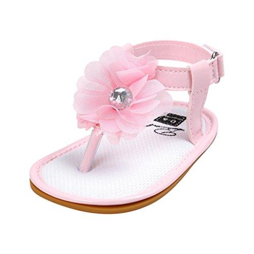 Baby Schuhe Auxma Baby Mädchen Blumen Sommer Sandalen Anti-Rutsch-Krippe Schuhe Für 3-18 Monate (13-18 M, Rosa) A