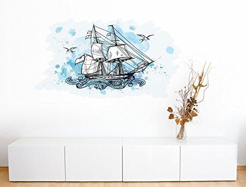 I-love-Wandtattoo WAS-10467 Wohnraum Wandsticker 'Aquarell Segelschiff mit hohen Wellen und Vögeln'...