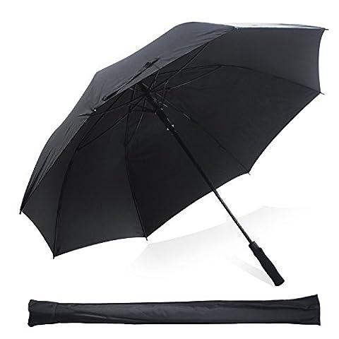 Kingstar Windproof Golf Umbrella, Black Lightweight 60 inch Double Canopy Automatic Open Umbrellas Golf with Fiberglass Shaft and 8 Glass Fiber