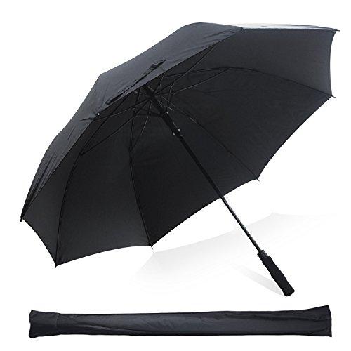 Kingstar - Parapluie de golf coupe-vent, noir, léger, 152,4cm, avec double tente à ouverture automatique -Parapluie de golf avec manche en fibre de verre et 8côtes en fibre de verre.