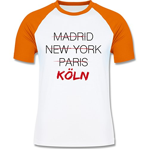 Städte - Weltstadt Köln - zweifarbiges Baseballshirt für Männer Weiß/Orange