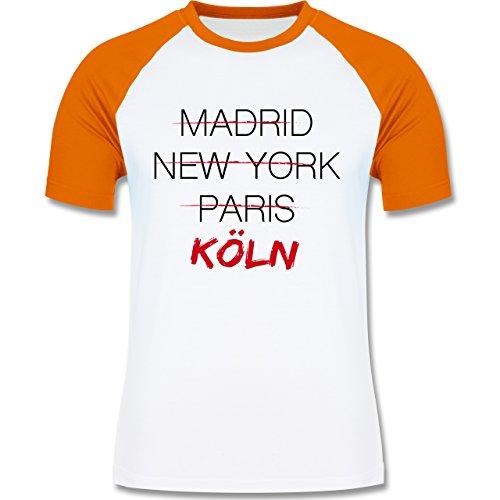 Shirtracer Städte - Weltstadt Köln - Herren Baseball Shirt Weiß/Orange