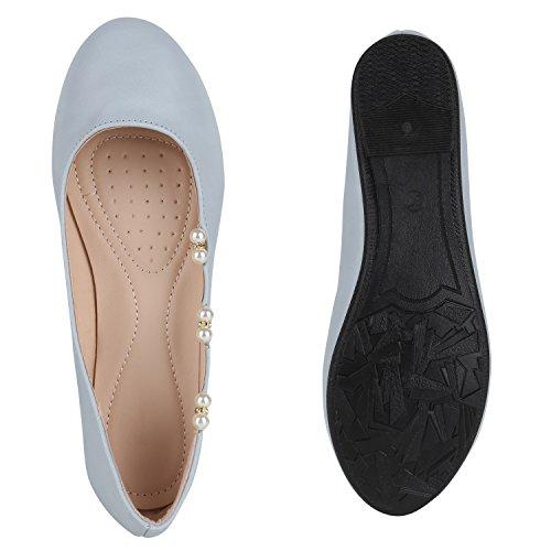Damen Ballerinas Lack Slipper Flats Schuhe Lederoptik Hellblau Perlen