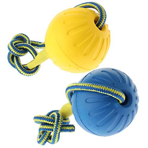 B Blesiya 2 Stücke Hundeball Schwimmfähig Wurfball Hundespielball Hundespielzeug Ball am Seil für Hunde