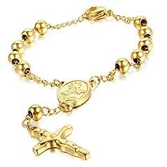 Idea Regalo - cupimatch Unisex Oro in acciaio inox a forma di croce crocifisso bracciale bangle Jesus Christian katholischen religiosa Rosario Lungo Link Collana di perle