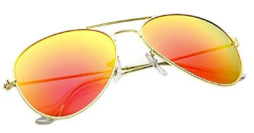 4sold Sonnenbrille in vielen Farbkombinationen Klassische Brille Unisex Sonnenbrille (gold orange)