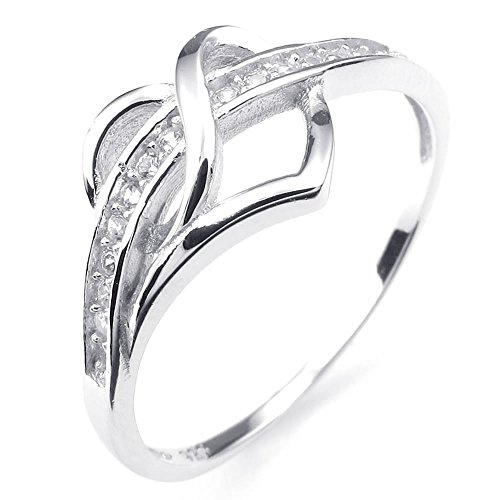Konov Jewellery 925 Sterling Silver Cubic Zirconia Mens Womens Ring, Classic Heart, Color Silver (with Gift Bag)