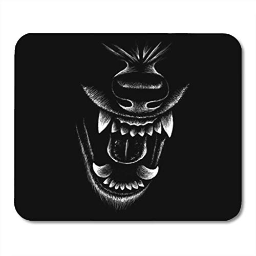 KKISTORE Gaming Mauspads Pad Graphic The Wolf for Design Outwear Hunting Style Negro Anger Animal Black Cane 11.8