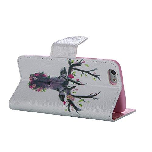 MOONCASE Étui pour Apple iPhone 5 / 5S Printing Series Coque en Cuir Portefeuille Housse de Protection à rabat Case Cover XK28 XK23 #0226