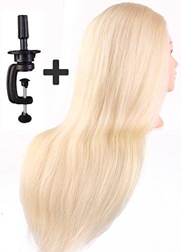 Tête à coiffer de cosmétologie 50 cm, 60% cheveu humain, 40% cheveu en fibre haute température, avec serre-joint de table, couleur blonde.