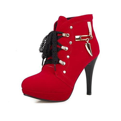 AgooLar Damen Hoher Absatz Niedrig-Spitze Schnüren Stiefel, Rot, 39