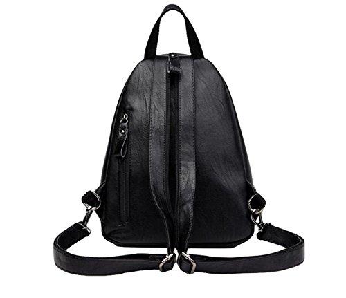 Rucksack Mode-Handtaschen PU Studenten Packen Taschen Multifunktionelle Rucksäcke Persönlichkeit Wilden Rudel Black