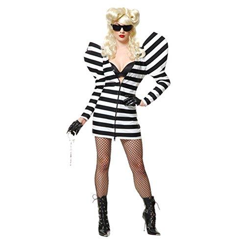 DLucc Europa und die neue Halloween-Kostüm Halloween Lady Gaga Leistungskleidung mit schwarzen und weißen Streifen Absatz