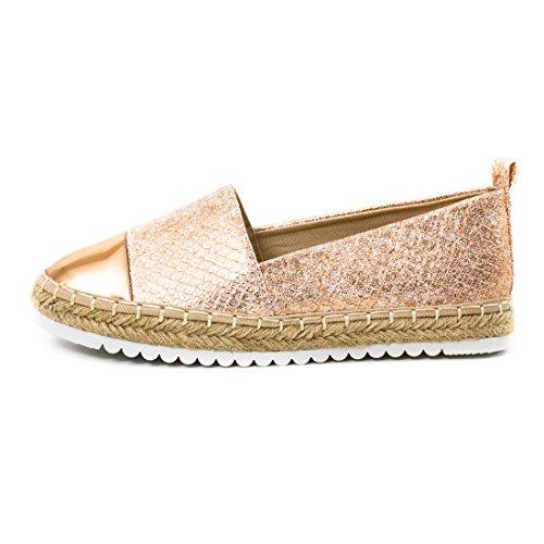 Marimo Damen Espadrilles Low Top Sommer Slipper Sneaker Metallic Lederoptik Y-Pink Metallic
