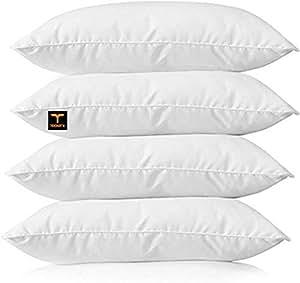 "Aditya Home Decor Cotton Bed Pillow, 16"" x 24"", White - Set of 4"