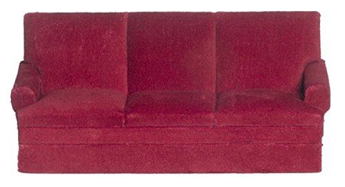 Melody Jane Casa Delle Bambole Di Velour Rosso Divano A 3 Posti Miniatura 1:12 Scala Mobili Soggiorno