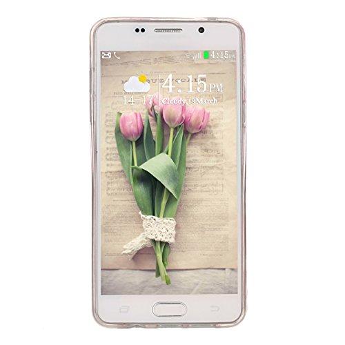 Hülle Galaxy A5 2016, Asnlove Neue Modelle Crystal Case Handy Schutzhülle TPU Silikon Transparent Schutz Handy Hülle Case Tasche Etui Bumper für Samsung Galaxy A510F , Plum Blume Color-2
