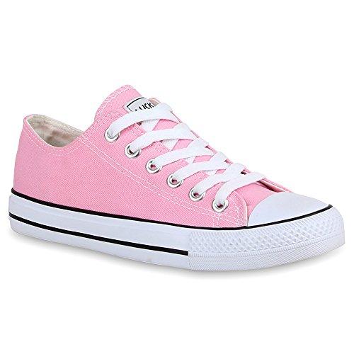 Weiße Basic Mädchen Kostüm - Stiefelparadies Damen Sneakers Turn Freizeit Low Sneaker Übergrößen Prints Glitzer Denim Schuhe 25895 Rosa Ambler 36 Flandell