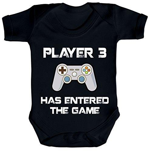 ShirtStreet Vatertag Gamer Geek Nerd Strampler Bio Baumwoll Baby Body kurzarm Player 3 has entered the Game, Größe: 0-3 Monate,Black Black Baby-body