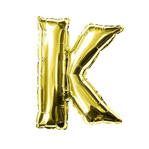 Oblique Unique® Folien Luftballon alle Buchstaben Alphabet ABC Herz Stern in Gold für Geburtstag Jubiläum goldene Hochzeit JGA Party Deko Folienballon - wählbar (Buchstabe K)
