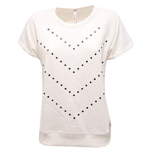 1556R felpa donna SUN68 felpe manica corta panna borchie sweatshirt women [M]
