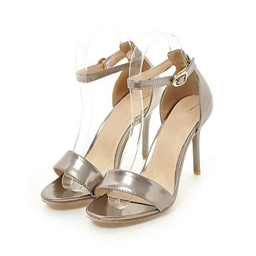 67f3eece Zapatos de Mujer Plateado Negro Rojo Hebilla de Oro Sandalias de Boda Tacones  Altos Verano Sandalias