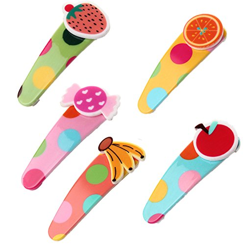 JUNGEN Hairpins Hair Clips for Baby Girls in Fruit Shape 5-Pack Colourful