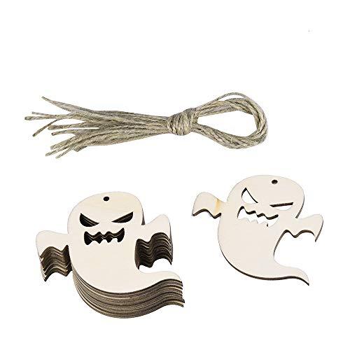 (DEESEE(TM) 10 Stück Halloween Holzspäne Baumschmuck Hängeanhänger Heimdekoration Geschenke Light 30 * 30CM e)