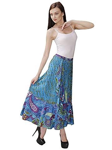 Women Wrap Party Hippie Dress Cotton designer Skirt Summer Beach Skirt Indian Dress Aakriti Gallery (Free size,