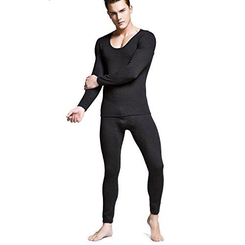 VENI MASEE Man Winter Warm Thermal Underwear Set Top Fleece-Lined Low Crew Neck -