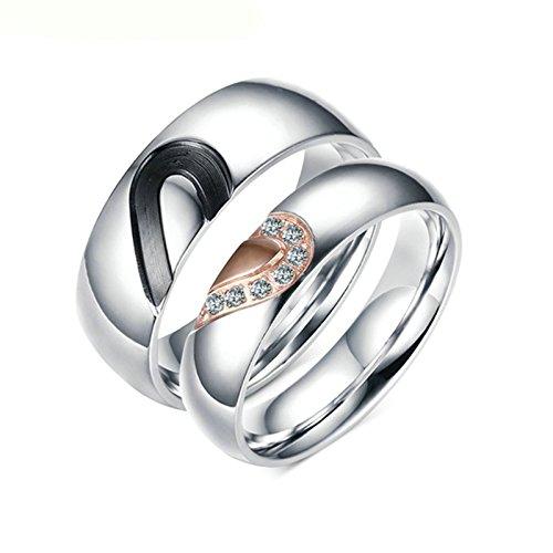 Aooaz 2 anelli donna acciaio anelli coppie anelli donna uomo anelli argento anelli cuore inciso gratis oro rosa e anelli neri per lei e lui donna 17 e uomini 17 con portagioie anelli fidanzamento