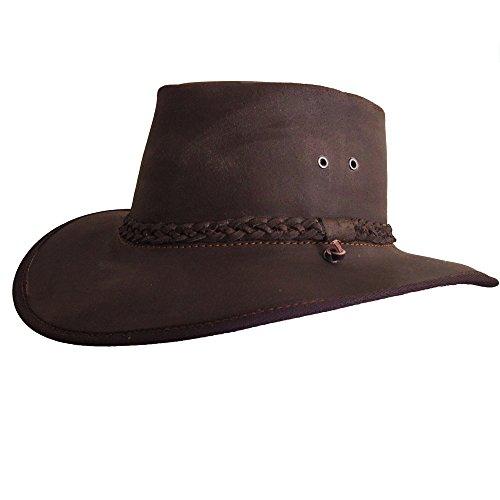 Bushman Lederhut Hut Herren - Cowboy Hut - Outdoor Hut Leder wasserdicht I Safari Hut I Lederhut - Safari/Outdoor/Südafrika/Outback I handgefertigt - Wachs -
