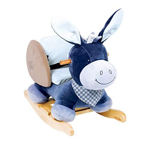 FUTER Kinder Spielzeug Massivholz Schaukelpferd, Plüsch Kissen Baby Schaukelstuhl (Farbe : B) (Kinderzimmer Schaukelstuhl Kissen)