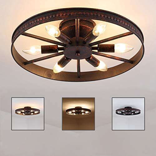 Rad Deckenleuchte Retro, Vintage Ring Deckenlampe - 6 Flammig - Rost - Runde Industry Lampe - Decorative Landhaus Leuchte - Eisen - 6 x E14 - Max. 60W - für Schlafzimmer Bar Cafe, Ø 46cm (Antike Eisen-räder)