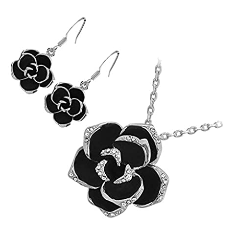 GWG® Jewellery Set for Women Sterling Silver Plated Pendant Necklace and Earrings Rosebud Flower with Black Leaves Graced with Diamond Clear Crystals