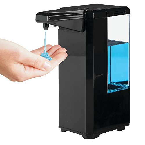 mDesign Dosificador de jabón eléctrico sin contacto – Dispensador automático de plástico con sensor para cocina y baño – Dispensador de líquidos antideslizante con infrarrojos – negro y transparente