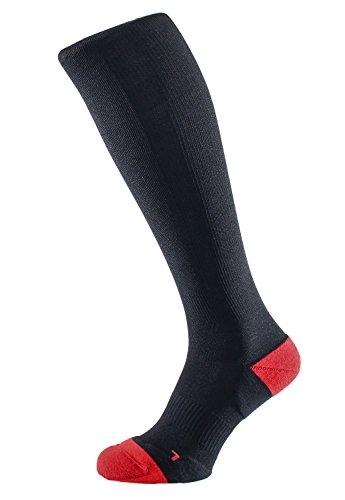 ALBERT KREUZ calze a compressione da trekking unisex - calzettoni contenitivi da sport, escursionismo, alpinismo per uomini e donne, color nero con rosso 42-44