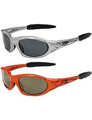 2er Pack X-CRUZE® Sonnenbrillen Sportbrille Radbrille Fahrradbrille in den Farben schwarz, anthrazit, weiß, silber, braun, rot, blau, gelb, orange und rot-orange