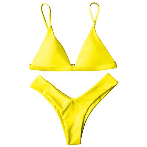 ZAFUL Damen Sport Push-Up Wickeln Bikini Sets Bademode Badeanzug Swimwear Swimsuit?GELB M? (Gelben Badeanzug Bikini)